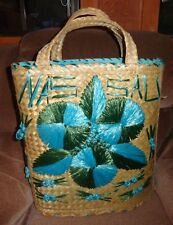 Nassau Bahamas Woven Straw Bag Tote Wicker Raffia Blue Flowers Summer Beach Vtg
