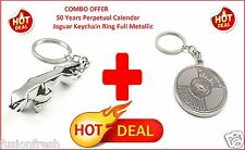 50 Years Perpetual Calendar Compass Jaguar Metallic Keychain Key Ring Bike Car