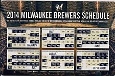 MILWAUKEE BREWERS  2014 MAGNET SCHEDULE STADIUM GIVE AWAY FAN APPRECIATION  2013