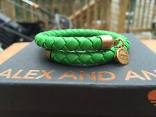 NEW ALEX and ANI VINTAGE 66 LIME GREEN BRAIDED LEATHER Gold WRAP Bracelet ��