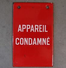 VINTAGE ANTIQUE FRENCH INDUSTRIAL ENAMEL  PORCELAIN SIGN Condemned machine
