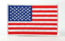 US AMERICAN NATIONAL FLAG WHITE BORDER MILITARY IRON/SEW ON PATCH SHOULDER BADGE