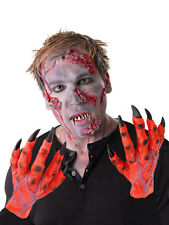 MENS ZOMBIE COSTUME LATEX GLOVES HANDS RED INFECTION HALLOWEEN FANCY DRESS NEW