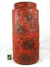 """Rare XXL 70´s Scheurich Keramik Vase """"Jura pattern""""  282-48 red """" Lava """" glaze"""