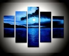 Big Ready to Hang 5 Piece Modern Art Abstract Painting Canvas Blue Wall Framed