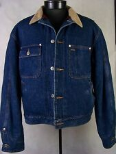 Polo Ralph Lauren Jacket Blue Denim Red Wool Lined Jean Coat USA Size L