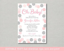 Oh Baby Blush Pink & Silver Glitter Dots Baby Shower Invitation Editable PDF