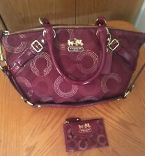 Coach Crimson Madison Dotted OP Art Sophia Satchel Bag F15935 & Mini Skinny EUC