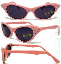 Rhinestone Cat Eye Womens Pinup Vintage Style Sunglasses Smoke PINK RSAF