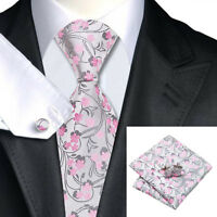 100% Silver and Pink Silk Tie, Pocket Square & Cufflink Set For Weddings, Proms