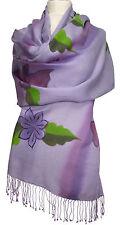 Schal scarf Wolle Seide wool silk handbemalt handpainted Flieder Floral scarf