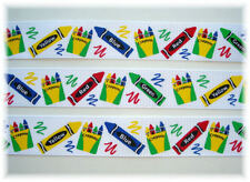 7/8 CRAYON SCRIBBLE SCHOOL COLOR BOX GROSGRAIN RIBBON