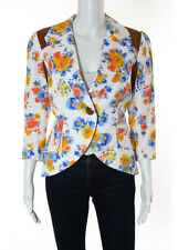 SMYTHE White Multi Color Floral Shoulder Pad Trim Asymmetrical Blazer Sz 12