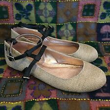 Miss Albright Specialty Dacey Ballet Flats Size 8 Linen Leather Anthropologie
