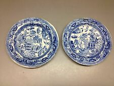 2 Antique Pearlware Miniature Blue & White Plates