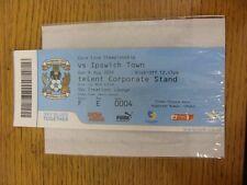 09/08/2009 BIGLIETTO: Coventry City V che città (SKY creazioni Lounge). se non