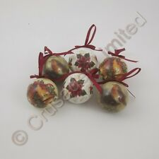 Set of 6 Decoupage Christmas Tree Baubles  Bells Poinsettia Robin NEW  17231