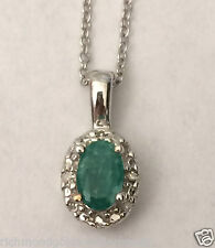 White Gold Oval Halo ALL REAL Natural Emerald Diamonds Pendant Nacklace NEW
