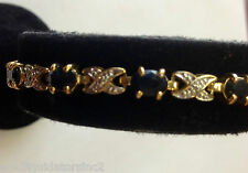 GOLD PLATE OVER STERLING SILVER 925  AMETHYST CUT STONES  TENNIS BRACELET 7.5""