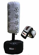 MADX Kids FREE STANDING Punch bag Set White Junior Freestanding Bag + Gloves