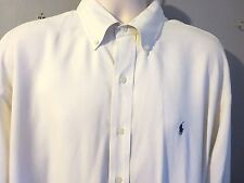 Ralph Lauren Blake Silk Cotton Blend Button Down Dress Shirt XL Ecru Lt. Yellow