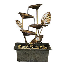 Cascading 5 Leaves Tabletop Indoor Water Fountain, Brass Metal Floral Cup Design