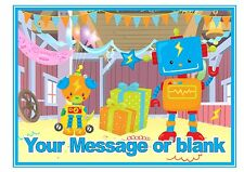 ND1 Cute Robot party birthday personalised A4 cake topper icing sheet