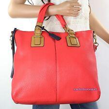 NWT Coach Soft Pebbled Leather Rory Shoulder Bag Satchel 25304P Red Orange RARE
