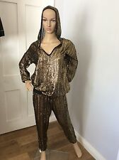 PACHA Ibiza River Island Black & Gold Tracksuit Hoodie S Bottoms M Over Sized