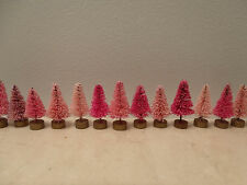 *5* Mini Pink Rose Fuchsia Easter Trees Shabby Sisal Bottle Brush Miniature
