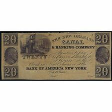 CIVIL WAR LOUISIANA NEW ORLEANS 20 DOLLAR 18xx CANAL & BANKING COMPANY SC UNC