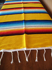 Serape ONWS-Yellow Blanket Table Cover Seat Cover Throw Mexican Design 5' X 7'