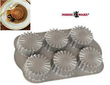 NORDICWARE 3 Cup RUFFLED MEDALLION 6 Cakelet PAN *Symetrical PLEATS Heavy Cast