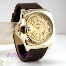 Retro Square Designer Gold Plt & Brown Leather Chunky S.Steel Date Display Watch
