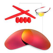 Walleva Fire Red FR Polarized lenses w Ear socks T-shocks for Oakley Juliet