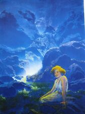 "Maxfield Parrish Edison Mazda Art ""Moonlight"" 1995 Printing Collectors Press WOW"