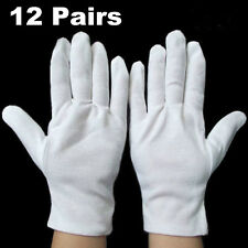 12 Pairs 100% Cotton White Gloves Health Music Canvas Beauty Work Liner Tool New