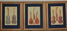 Antique stringed Instrumens x3 color Prints high quality framed Viola Da Gamba