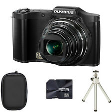 Olympus Stylus SZ-14 Digital Camera - Black + Case + 8GB Card + Tripod