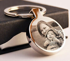 Metal Circle Keyring Photo Engraved Personalised Christmas Gift Jewellery