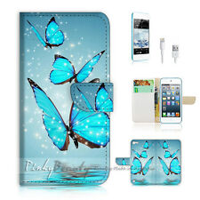 iPod iTouch Touch 5 Print Flip Wallet Case Cover! Beautiful Butterfly Blue P0225