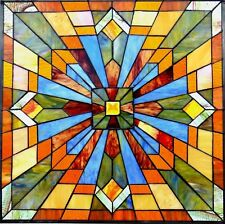 """24"""" by 24"""" STAINED GLASS WINDOW PANEL BRILLIANT MISSION STYLE COLLECTION"""