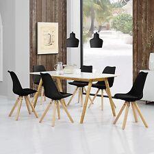 [en.casa] Table de salle à manger Bambou avec 6 Chaises rembourré noir [180x80]