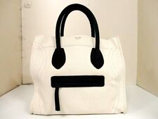 Authentic CELINE Ivory Black Luggage Square Phantom Canvas Tote Bag w/ Dust Bag