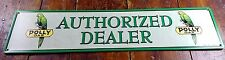 "POLLY GAS GREEN PARROT BIRD LOGO AUTHORIZED DEALER 20"" L METAL ADVERTISING SIGN"