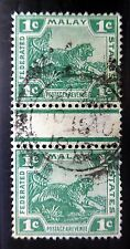 MALAYA FEDERATED STATES 1c Tiger in Used Gutter Pair Few Short Perfs NB491