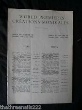 INTERNATIONAL THEATRE INSTITUTE WORLD PREMIER - INDEX TO VOL 11 OCT 1959 to JULY