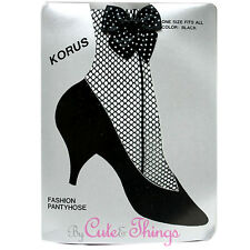 Black Fishnet Pantyhose with Polka Dot Ankle Bow Stockings Leggings