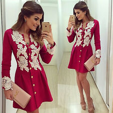 New Women Sexy Short Mini Long Sleeve Casual Dress Lace Evening Party Cocktail