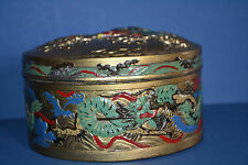 Rare Antique 19th Century Chinese Painted Antimony (Metal) Decorative Box,c 1850